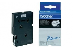 Brother TC-291, 9mm x 7,7m, black text / white tape, original tape