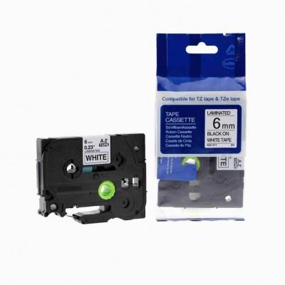 Brother TZ-211 / TZe-211, 6mm x 8m, black / white, compatible tape