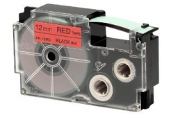 Casio XR-12RD1, 12mm x 8m, black text/red tape, original tape