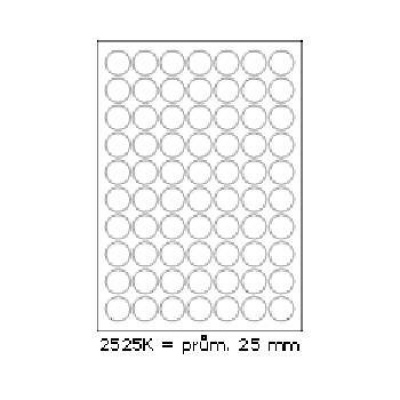 Selfadhesive labels 25 x 25 mm, 70 labels, A4, 100 sheets