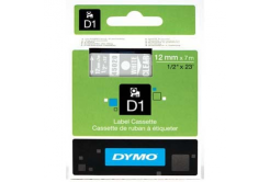 Dymo D1 45020, S0720600, 12mm x 7m white text / clear tape, original tape