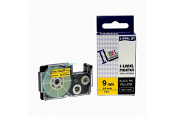 Compatible with tape Casio XR-9YW1, 9mm x 8m black printing / yellow base