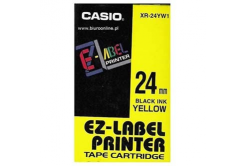 Casio XR-24YW1, 24mm x 8m, black text/yellow tape, original tape