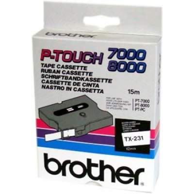 Brother TX-231, 12mm x 15m, black text / white tape, original tape