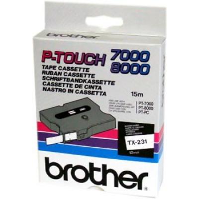 Brother TX-231, 12mm x 15m, black text / white tape, original tape