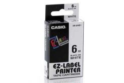 Casio XR-6WE1, 6mm x 8m, black text/white tape, original tape