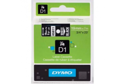 Dymo D1 45811, S0720910, 19mm x 7m, white text / black tape, original tape