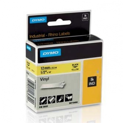 Dymo Rhino 18432, S0718450, 12mm x 5,5m black text / yellow tape, original tape